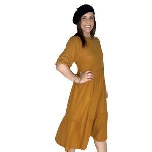 Midi Tiered Sweater Mustard Yellow Dress